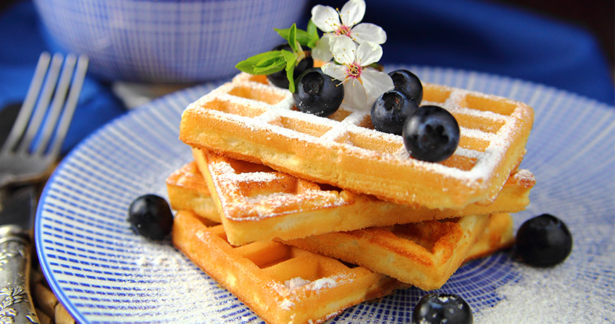 Waffles with blueberries on top