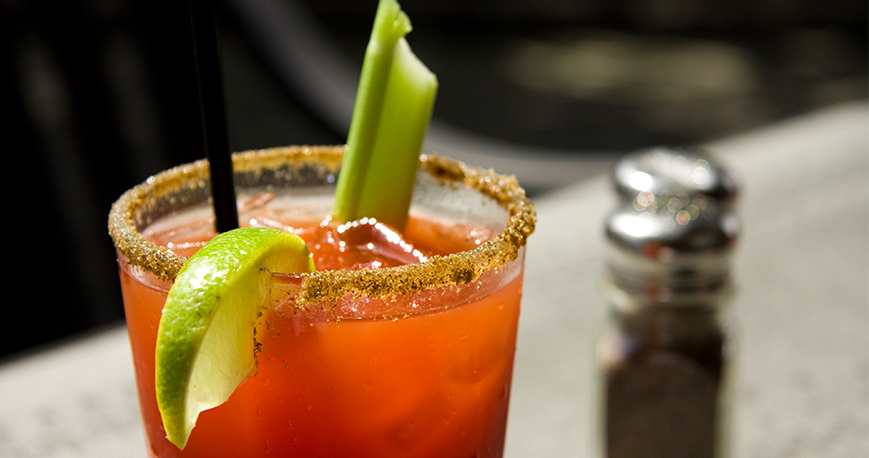 Bloody Mary with celery and lime
