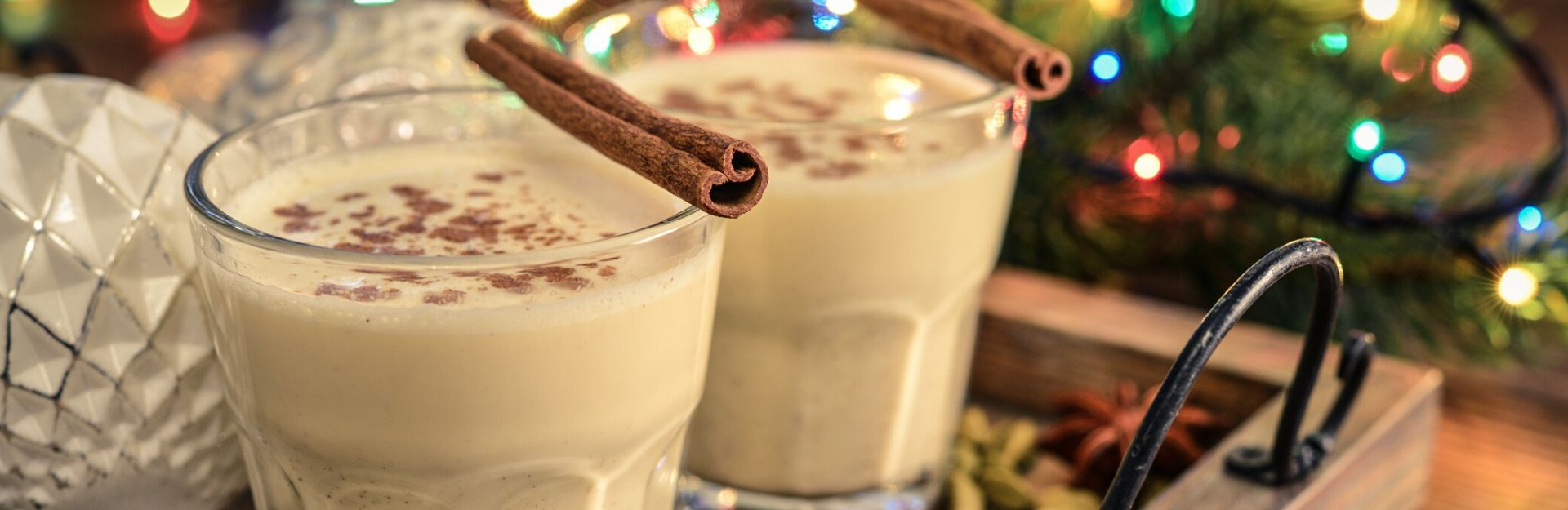 two glasses of homemade eggnog recipe