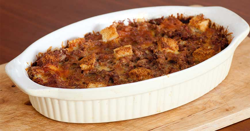 a hashbrown breakfast casserole in a dish